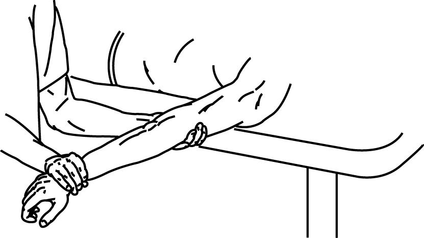 肘関節伸展のMMT,段階5と4の抵抗