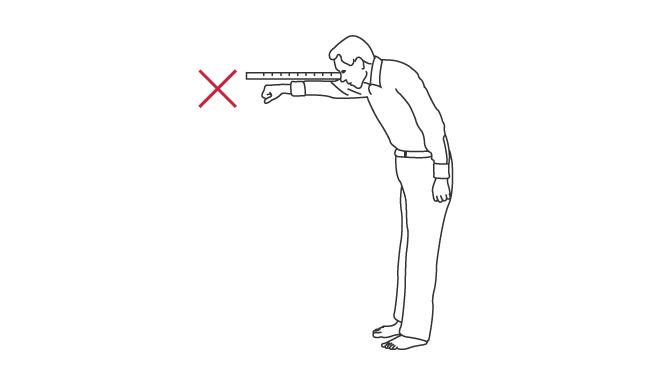 FRTでは,手は物差しの高さから外れないようにする